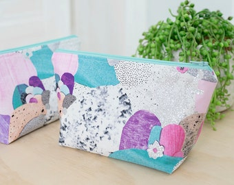Pretty makeup pouch. Small cosmetic bag. Pencil case. Makeup brush pouch. Zipper pouch. Teen girl gift. Cute toiletry case. Wet bag.