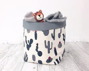 Extra large cactus fabric basket. Storage basket, nursery storage, baby shower gift, cactus lover