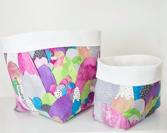 Bright storage basket. Home decor. Storage bin.  Bathroom storage. Organisation basket. Bright nursery decor. Fabric bin. Pot plant holder