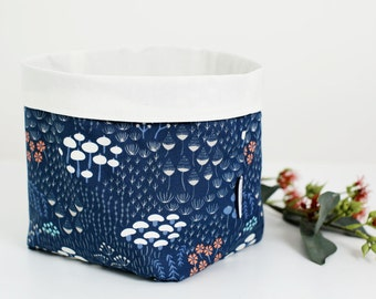 Large navy floral fabric basket, storage basket, fabric pouch, bathroom storage, plant pouch, nursery storage