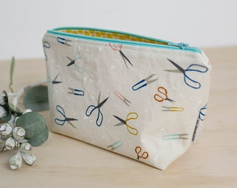 Zipper pouch. Makeup pouch. Small cosmetic case. Gifts for her. Waterproof pouch. Pencil case. Crafty gift. Mother's Day gift. Scissor pouch
