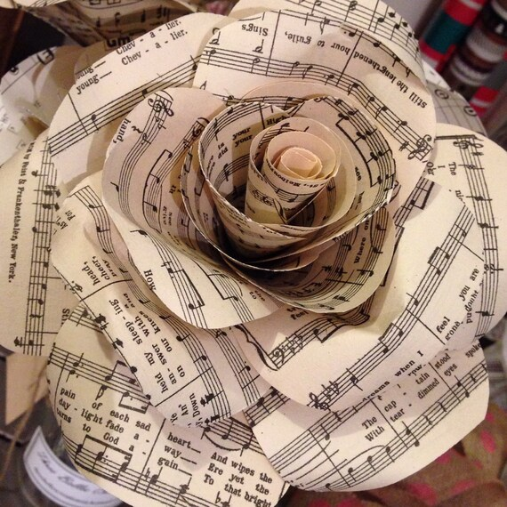 Handmade music note paper flowers etsy image 0 mightylinksfo