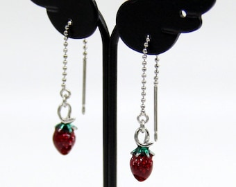 Strawberry Earrings, Silver Plated Strawberry Drop Earrings, Fruit Earrings, Food Earrings, Tiny Strawberry Earrings, Strawberry Jewelry