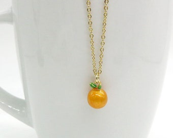 Orange Necklace, Tiny Orange Necklace, Tangerine Necklace, Gold Orange Necklace, Enamel Orange Necklace, Orange Jewelry, Miniature Orange