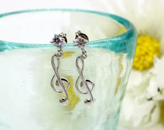 Music Note Earrings, Music Symbol Earrings, Silver Treble Clef Note Earrings, G Clef Note Earrings, Music Teacher Gift, Music Note Jewelry