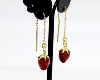 Strawberry Earrings, Gold Strawberry Drop Earrings, Threader Earrings, Fruit Earrings, Food Earrings, Fruit Jewelry, Strawberry Jewelry