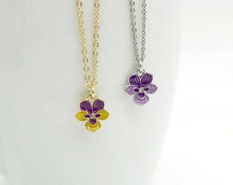 Viola Necklace, Pansy Necklace, Yellow / Purple Enamel Flower Necklace, Gold / Silver Viola Pansy Necklace, Flower Necklace, Flower Jewelry