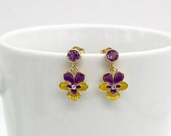 Viola Earrings, Pansy Earrings, Amethyst Earrings, 14K Gold Filled Amethyst Stud Earrings, Natural Stone Earrings, Flower Jewelry