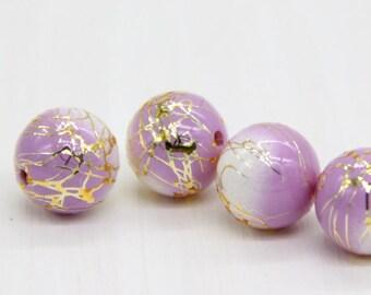 14mm Japanese Arabesque Beads, Gold Line Purple Arabesque Beads, Light Purple Acrylic Beads, Japanese Beads, Tensha Beads, Made in Japan