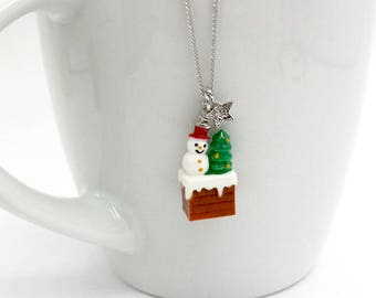 Christmas Necklace, Snowman Necklace, Christmas Tree Necklace, Gingerbread House Necklace, Christmas Jewelry, Winter Necklace