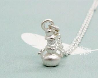 Christmas Necklace, Snowman Necklace, Matt Silver Plated Snowman Necklace with Sterling Silver Chain, Christmas Jewelry, Winter Necklace