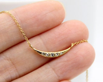Moon Necklace, Gold Moon Necklace, Cubic Zirconia Moon Necklace, Gold CZ Moon Necklace, Crescent Moon Necklace, Moon Jewelry, Minimalist