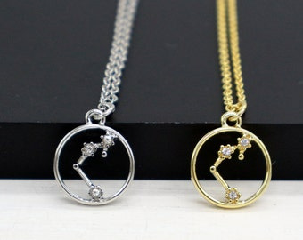 Aquarius Necklace, Gold / Silver Aquarius Necklace, Aquarius Constellation, Zodiac Aquarius Necklace, Aquarius Jewelry, Horoscope Jewelry
