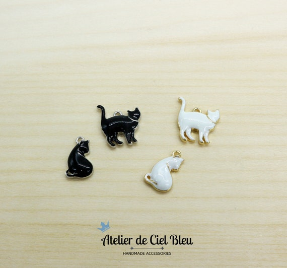 Details about  /Sterling Silver Children/'s Enameled White Cat Charm Pendant MSRP $45