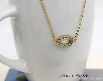 Oval Necklace, Oval Rhinestone Necklace, Pave Rhinestone Necklace, Oval Shape Necklace, Gold Oval Necklace, Minimalist Necklace