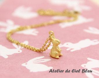 Bunny Necklace, Rabbit Necklace, Tiny Bunny Necklace, Tiny Rabbit Necklace, Matt Gold Bunny Necklace, Tiny Gold Rabbit Charm