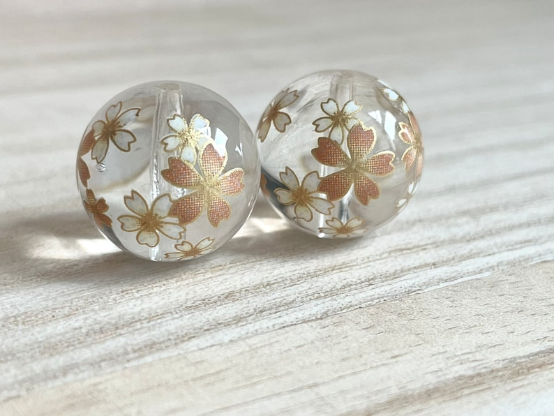 Japanese Beads Cherry Blossom Round Beads Clear Transparent Beads 12  14  16  18mm Japanese Tensha Beads Focal 2 pcs Decal Beads