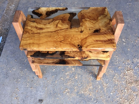 Epoxy Resin Olive Wood Coffee Table Set Etsy