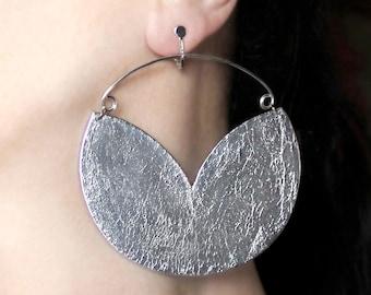 Large earrings Clipon earrings Hoop dangles Big jewelry Clip dangles Silver hoops Screw back earrings Screw on earrings Statement earrings