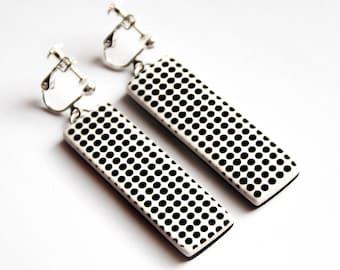 Black and white Dangle clip on earrings Geometric jewelry Long earrings Bar jewelry Urban earrings Gift Women accessory Modern gift for her