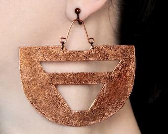 Ethnic earrings Clipon earrings African jewelry Statement big Copper earrings Screw back dangles Bohemian jewelry Boho earrings Large dangle