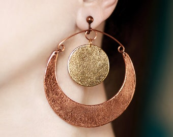 Inspirational gift for her Sun and moon Clip on earrings Copper and gold dangle earring Large drop earring Big statement jewelry Inspiring