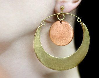 Gold moon and sun earrings Inspirational gift for her Sun and moon dangle Clip on earrings Metallic colors jewelry Large earrings Big hoops