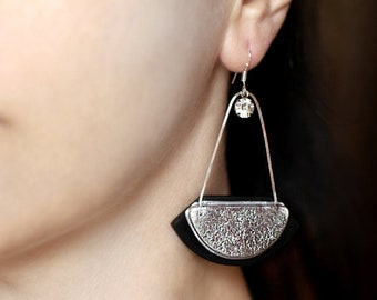Abstract jewelry gift Birthday gift idea for women gift for her Big modern earring Statement dangle Contemporary Handmade gift Long earring