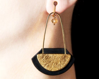 Long dangles Clip on earrings Gold screw back earring Statement dangles Clip earrings Birthday gift for women Big modern jewelry Modern gift