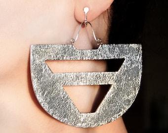 Large jewelry Silver clip on earrings Bohemian jewelry Bold earrings Clip dangles Screw earrings Big jewelry Bold jewelry Chunky earrings
