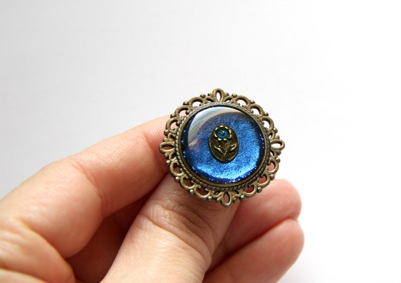 Navy Blue Ring Resin Jewelry Sparkle Birthday Gift Idea