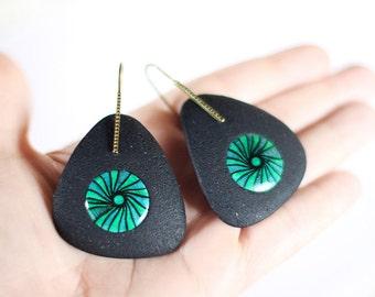 Big black earrings Statement jewelry Black and green Dangle earrings Large chunky dangles Statement earrings Abstract jewelry Gift for women