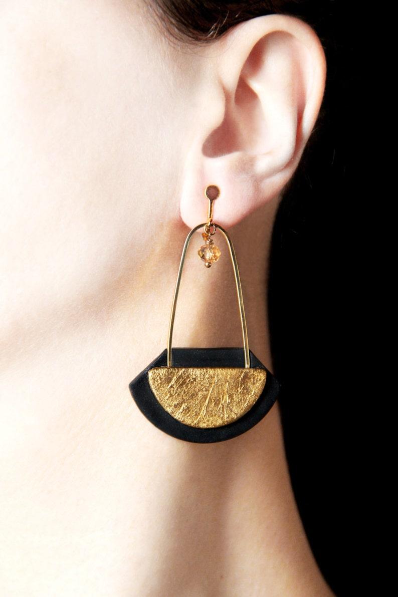 Long dangles Clip on earrings Gold screw back earring Gold