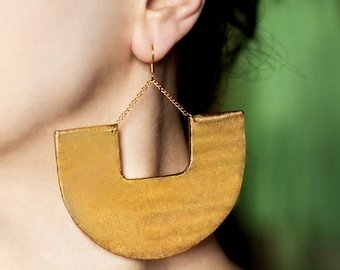 Large earrings Gold dangles African jewelry Tribal earrings Ethnic jewelry Big earrings Best selling items for her Statement jewelry Chunky