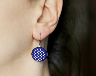 Navy blue earrings Cobalt blue jewelry Modern dangles Contemporary jewelry Blue gift for her Drop earrings Gift for wife Minimalist earrings