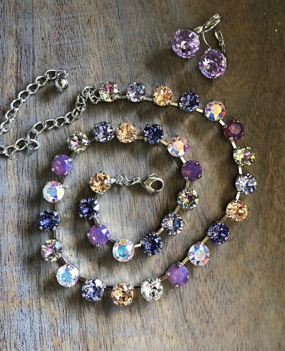 5c395b8ca417e LAVENDER KISSES genuine Swarovski crystal necklace, 8.5mm crystals, purple  shades, peach, vitrail light, sparkle, adjustable, summer jewelry