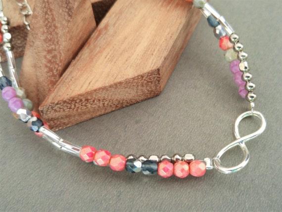 Infinity Anklet, Infinity Ankle Bracelet, Anklet For Women, Dainty Anklet, Lilac Anklet, Pink Anklet, Girls Anklet, Surfer Anklet Bracelet