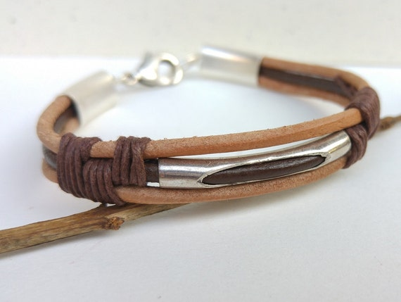 Brown Leather Bracelet, Mens Brown Bracelet, Leather Cord Bracelet, Brown Cord Wristband, Mens Cuff Bracelet, Men Statement Jewelry