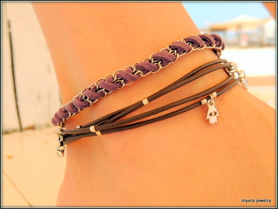 Braided Leather Cord Anklet With Natural Small Hag Stones Womens Ankle Bracelet Rose quartz healing stone bobble bracelet silver. kamaopt ru