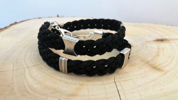 Men Black Bracelet, Mens Wrap Bracelet, Men Leather Bracelet, Black Wrap, Leather Wristband, Chunky Men Bracelet, Men braided Bracelet