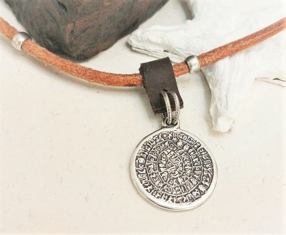 Phaistos Disc Pendant, Greek Coin Necklace