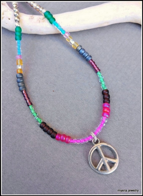 Peace Sign Pendant, Girls Peace Necklace, Peace and Love Necklace, Hippie Necklace, Retro Necklace, Rainbow Necklace, Colorful Necklace