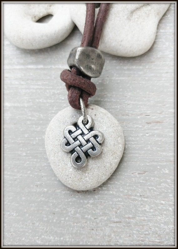 Celtic Knot Necklace, Men Hag stone Necklace, Wiccan Talisman Pendants, Infinity Celtic Necklace, Hagstone Necklace, Witches Knot Necklace