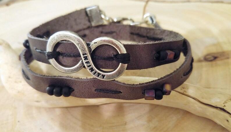 Infinity Leather Bracelet Wrap Bracelet For Men Mens Wrap Bracelet Mens Symbol Jewelry Gray Bracelet Mens Infinity Bracelet