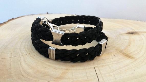Mens Wrap Bracelet, Men Leather Bracelet, Leather Wrap Wristband, Chunky Wrap Bracelet, Leather Metal Wristband, Adjustable Wrap Bracelet
