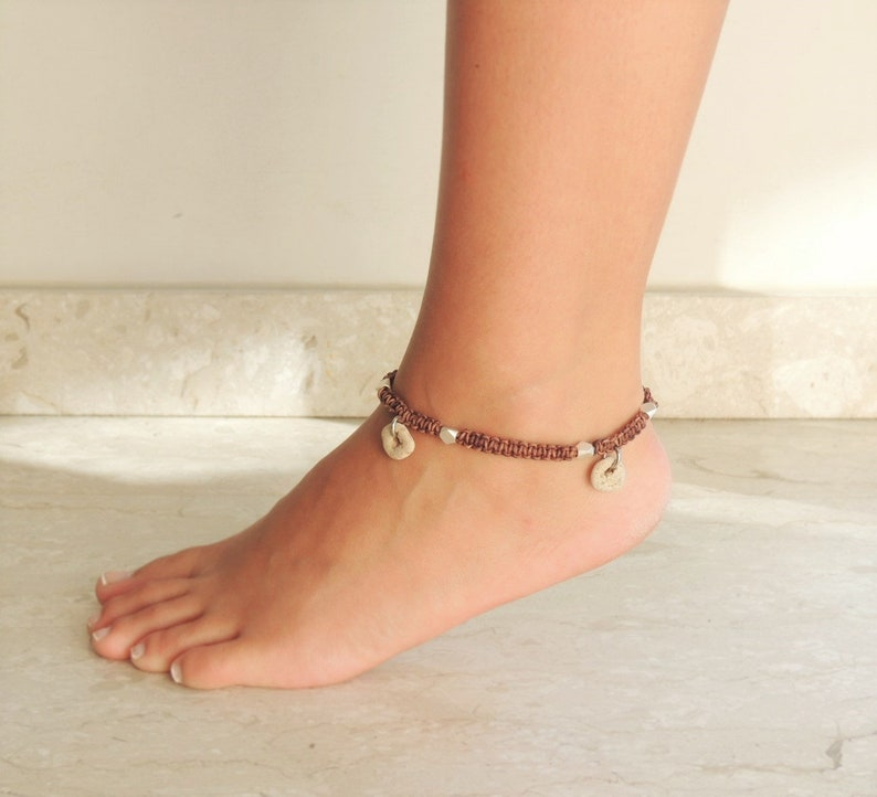 Leather Foot Jewelry Womens  Anklet Brown Braided Anklet Wiccan Hagstone Magic Leather Anklet Brown Ankle Bracelet Hag Stone Anklet
