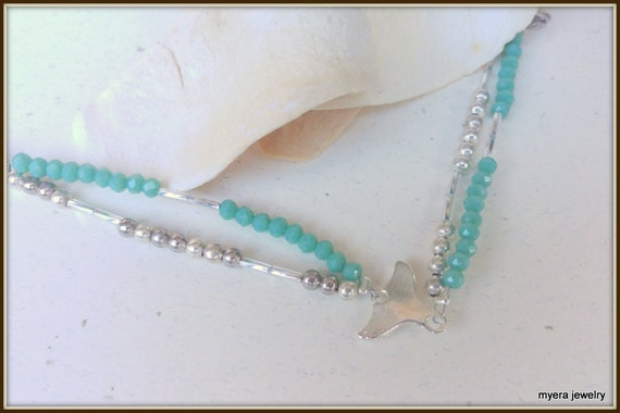 Whale tail Anklet, Women Beach Anklet, Women Fish Anklet, Whale Tail Jewelry, Whale Charm Jewelry, Beaded Anklet