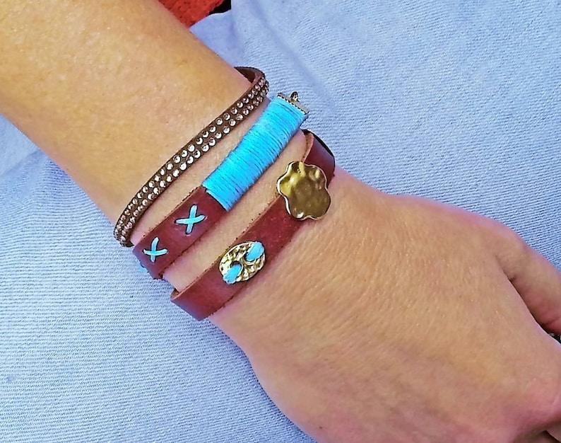 Double Wrap Bracelet Turquoise Wrap Bracelet Soft Leather Bracelet