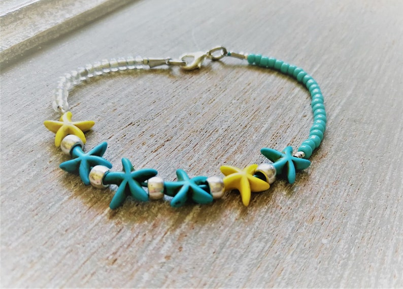 Yellow Sea Star Ankle Bracelet Turquoise Starfish Anklet Hawaiian Anklet Tropical Anklet Beach Anklet