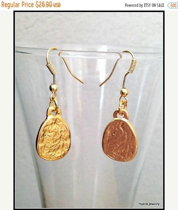 SALE Golden Hammered Earrings, Gold Drop Earrings, Gold Dangle Earrings, Small Gold Earrings, Statement Earrings, Delicate Ear Jewelry